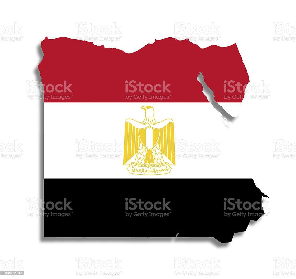 Egipcio mapa con su pabellón - foto de stock