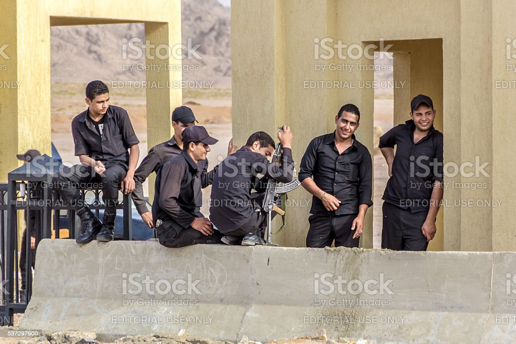 Egyptian military police on checkpoint stock photo