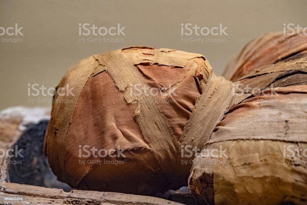 Egyptian mummy head close up detail of stock photo