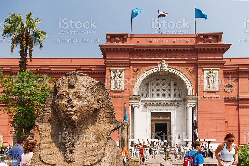 Egyptian Museum in Cairo, tourists come through the main entrance. stock photo