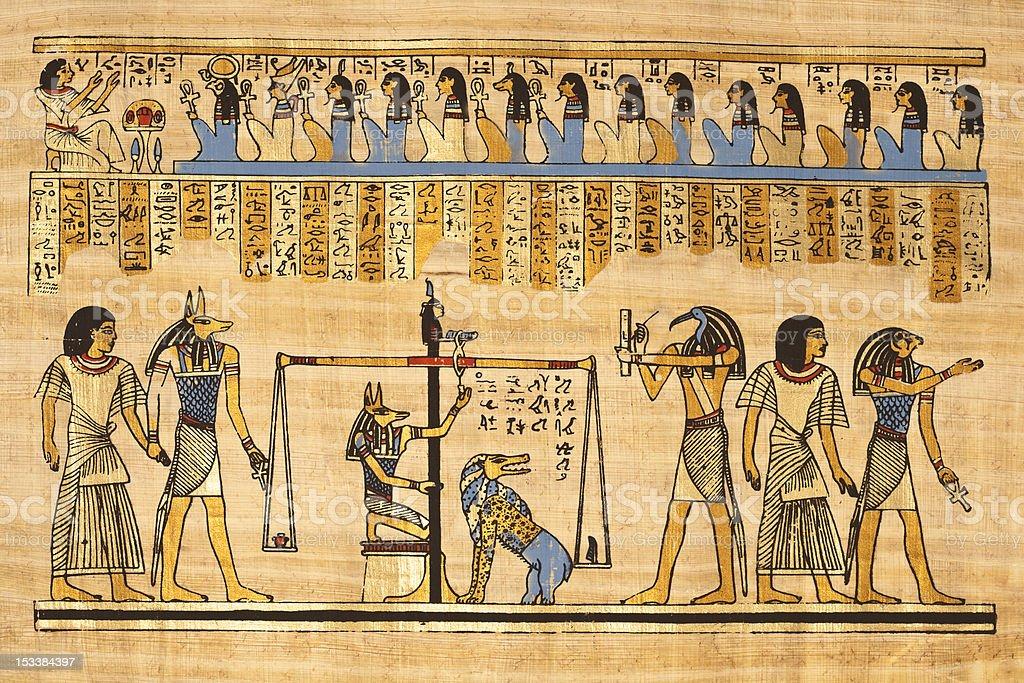 Egyptian Papyrus papyrus with hieroglyphics depicting Egyptian mythology. Ancient Civilization Stock Photo