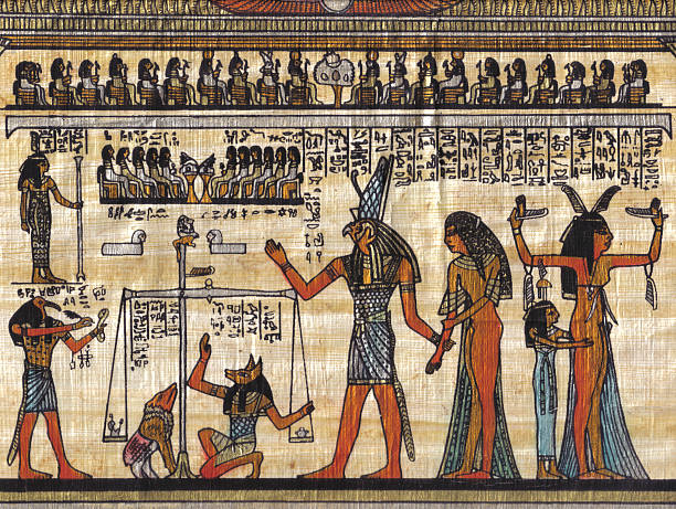 "Egyptian Papyrus ""Egyptian Papyrus showing the last judgment, if your heart is lighter than the feather, you go to paradise."" papyrus paper stock pictures, royalty-free photos & images"