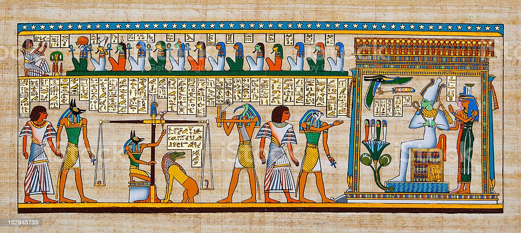 Egyptian Papyrus scene stock photo
