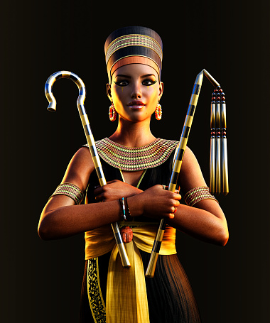 1137329370 istock photo Egyptian Pharaoh Queen Cleopatra holding signs of power 1256523827
