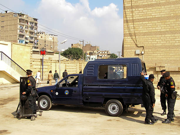 Egyptian policemen in Cairo stock photo