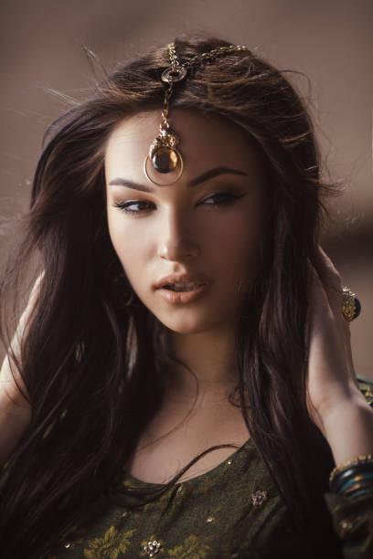 Egyptian princess Cleopatra in desert stock photo