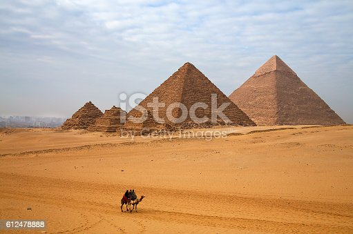 Egyptian pyramid and the rider on the camel.