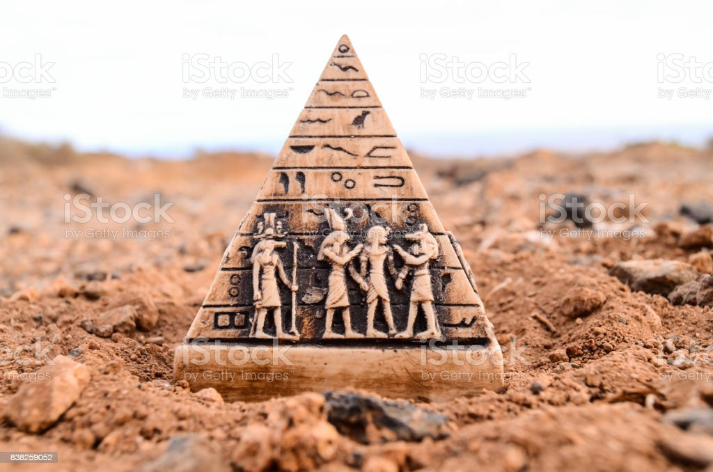 Egyptian Pyramid Model Miniature stock photo