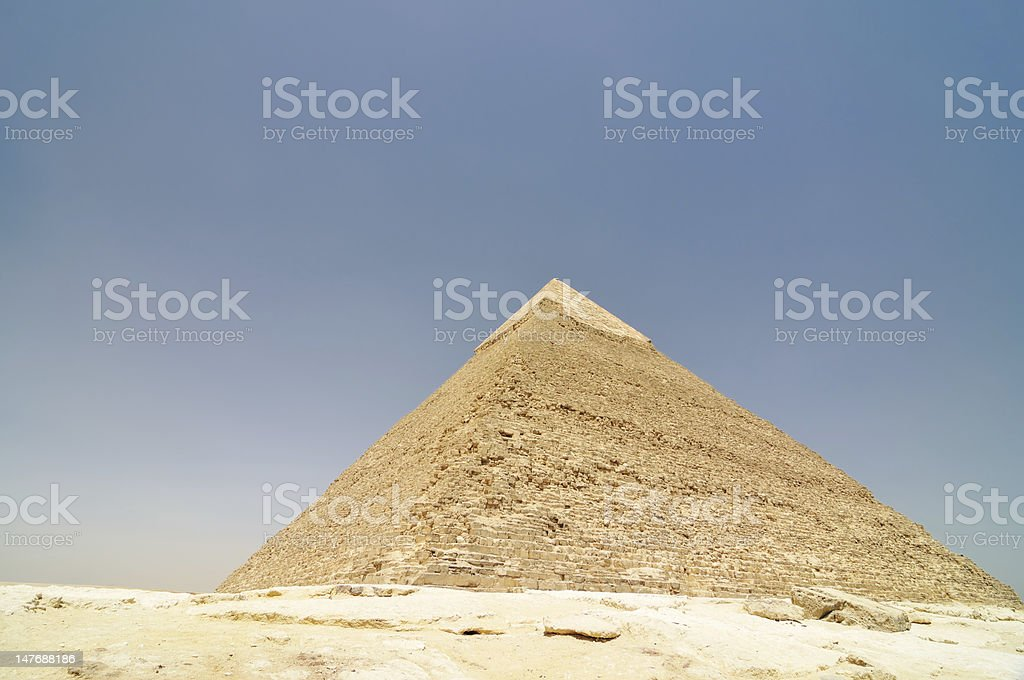 Egyptian pyramid with copy space stock photo