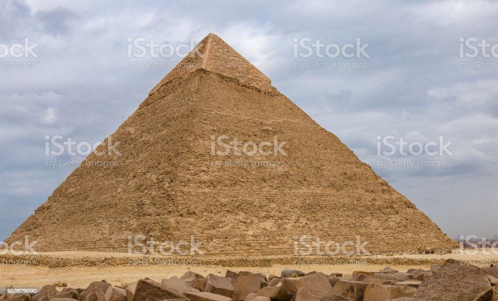 Egyptian pyramids in of Giza, Egypt stock photo
