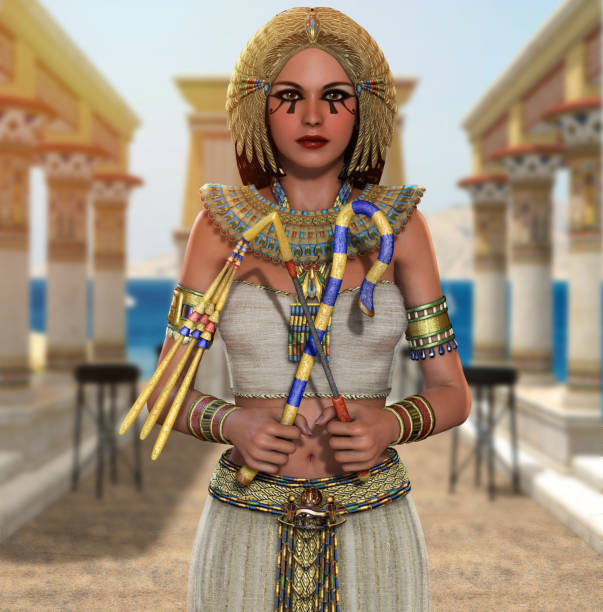 Egyptian Queen Cleopatra Pharaoh holding signs of power stock photo