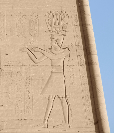 ancient old stone relief outdoor in Egypt