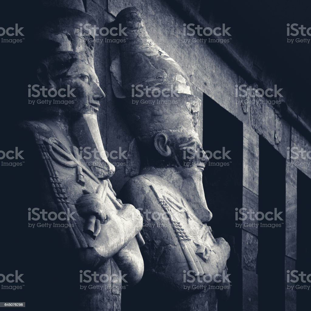 Egyptian sculptures in a Hatshepsut temple. stock photo