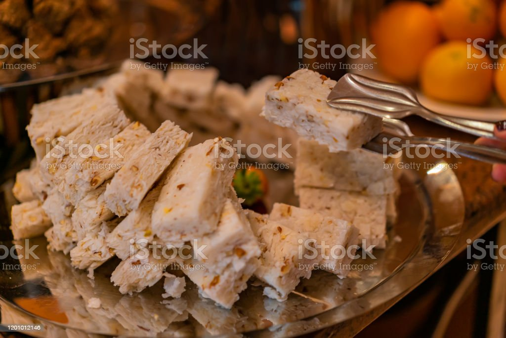 Egyptian Semolina Cake With Nuts And Syrup Eastern Cookies Basbousa Beautifully Served On Metal Plate Traditional Desert In Egypt Stock Photo Download Image Now Istock