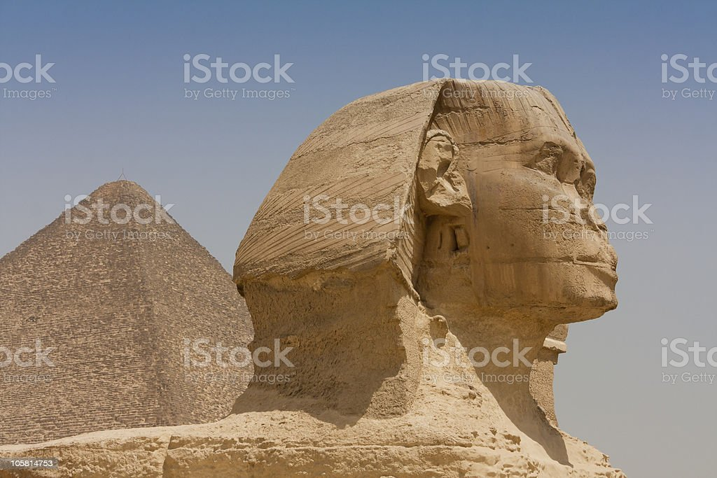 Egyptian Sphinx and the Pyramid royalty-free stock photo