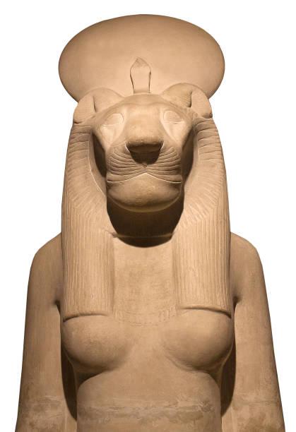 Egyptian statue of goddess Bast or Sakhmet stock photo