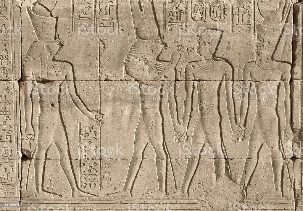 egyptian stone relief royalty-free stock photo