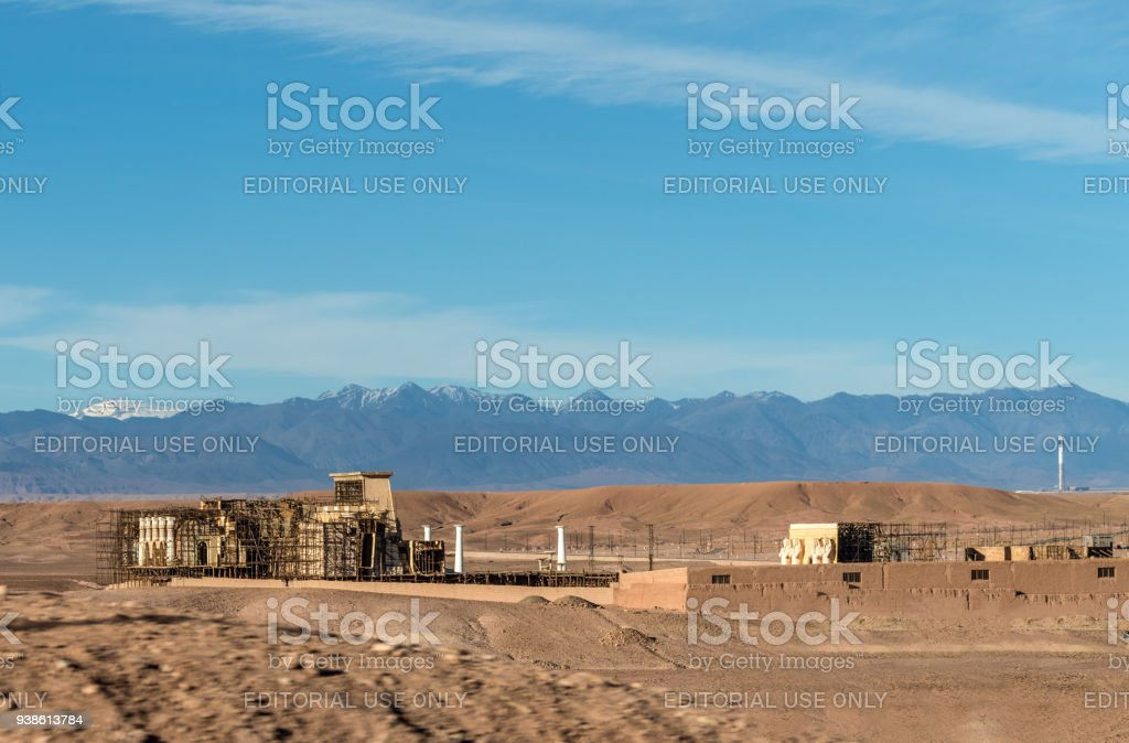 Egyptian style sets seen at the exterior of CLA Studios in Western Sahara, Morocco stock photo