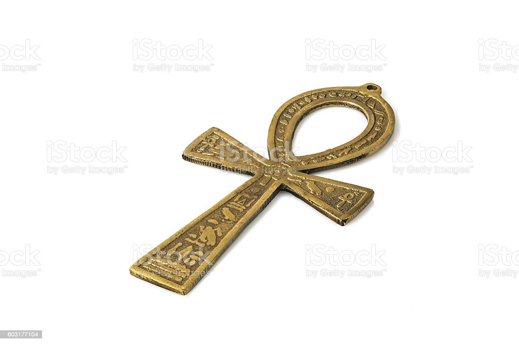 Egyptian Symbol Of Life Ankh Isolated On White With Shadows Stock