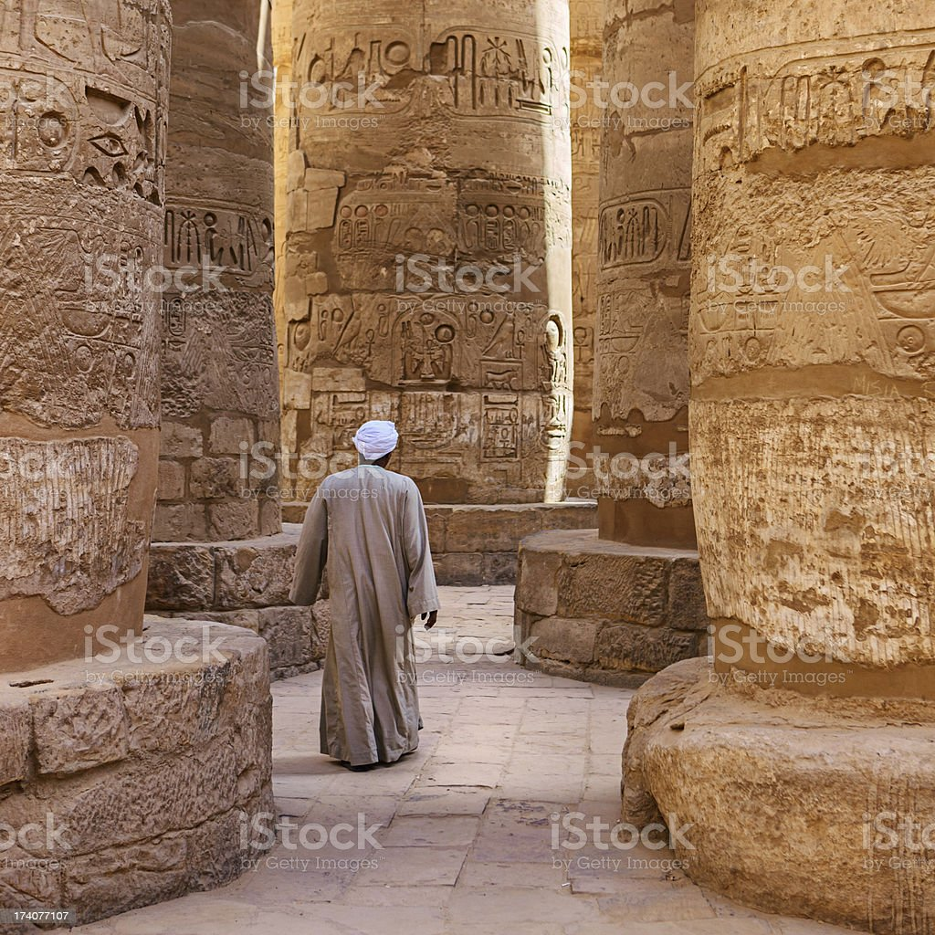 Egyptian temple guard in Karnak Complex, Luxor, Egypt royalty-free stock photo