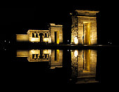 NIght shot of an Egyptian temple with its reflection on water