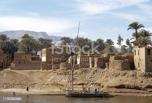 Upper Egypt (exact place unfortunately not known), 1972. Egyptian village on the Nile shore.