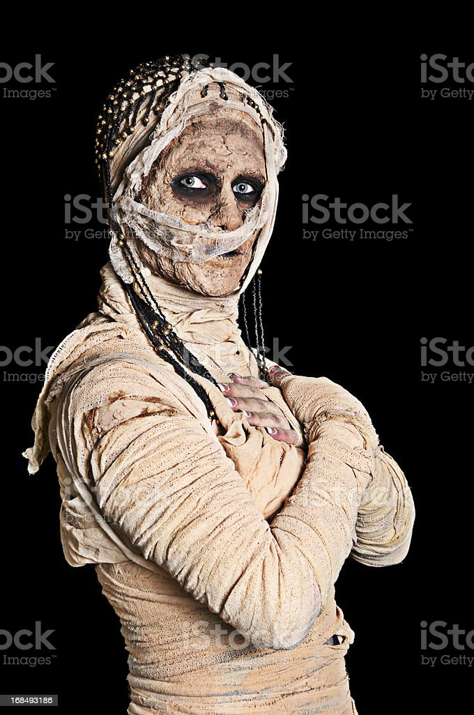 Egytian mummy with crossed arms. stock photo