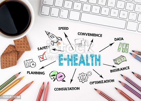 istock E-health Concept. Chart with keywords and icon 1094871288