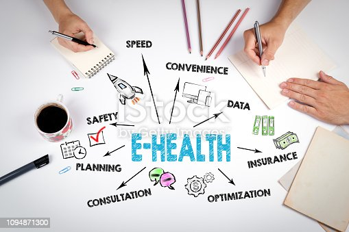 istock E-health concept. Chart with keywords and icons 1094871300