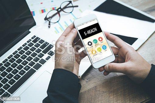 E-Health Concept on Smartphone Screen
