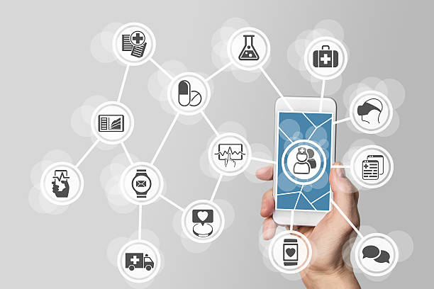 E-healthcare concept with hand holding smart phone stock photo