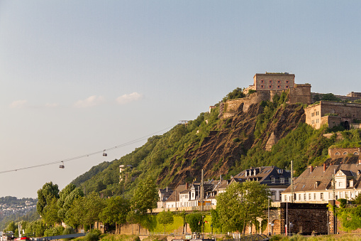 Ehrenbreitstein Fortress bathed in afternoon light and Cableway