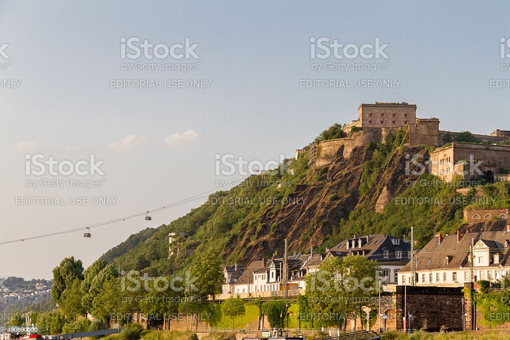 Ehrenbreitstein Fortress bathed in afternoon light and Cableway stock photo