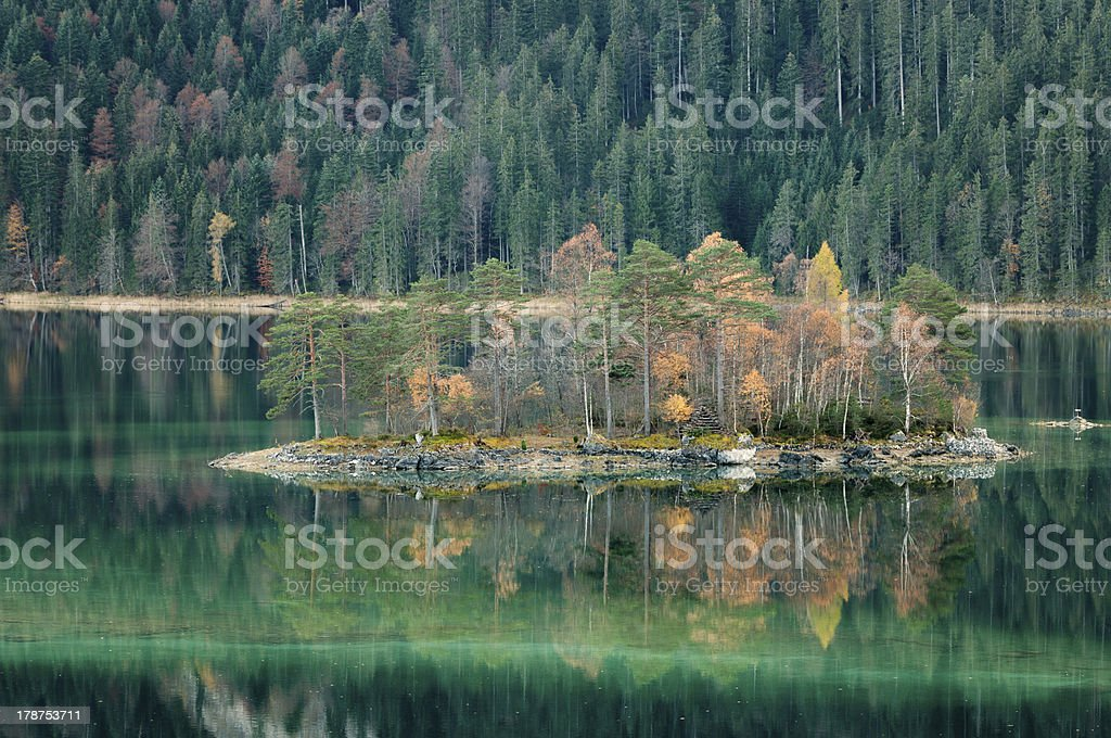 Eibsee Island in Fall royalty-free stock photo