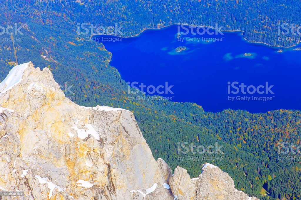 Eibsee lake from above Top of Germany: Zugspitze and Bavarian alps, Garmisch – Germany stock photo