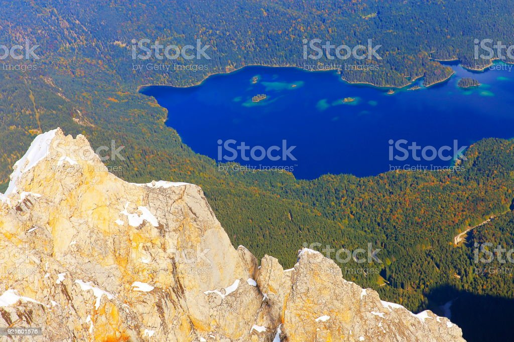Eibsee lake from above Top of Germany: Zugspitze summit and Bavarian alps, Garmisch – Germany stock photo