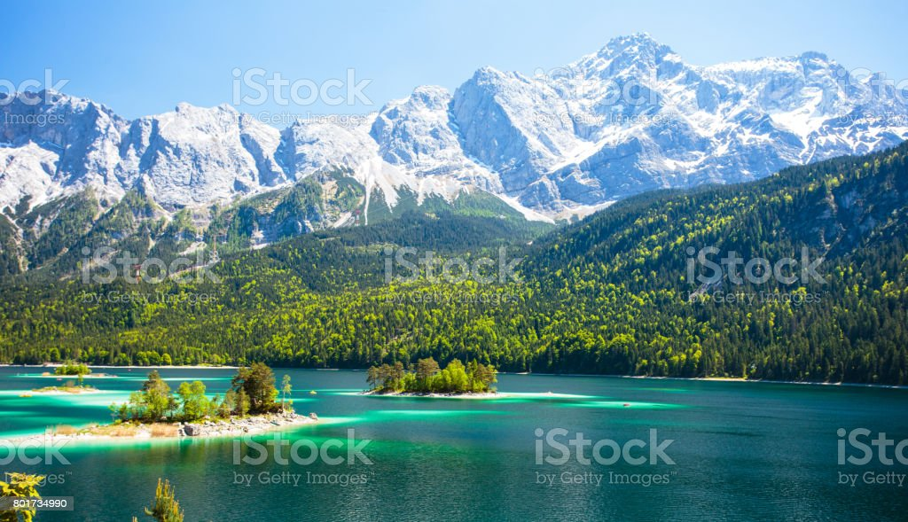 Eibsee lake in Bavarian Alps stock photo