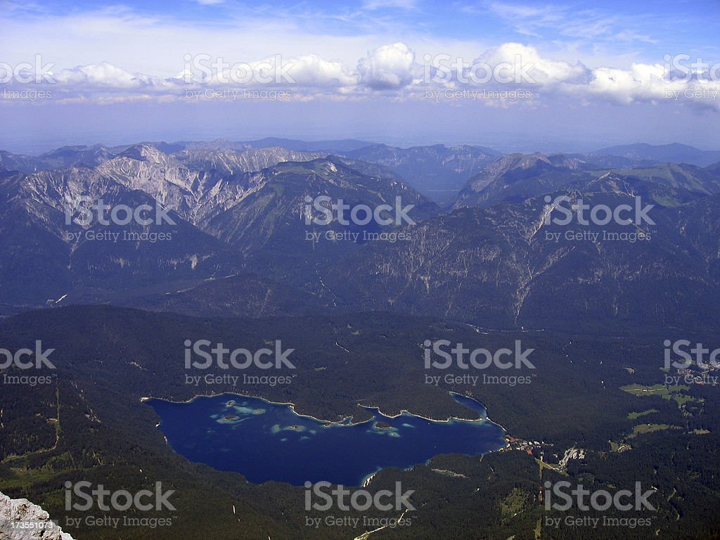 Eibsee - View from the Zugspitze royalty-free stock photo