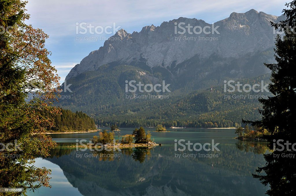 Eibsee with Zugspitze mountain royalty-free stock photo