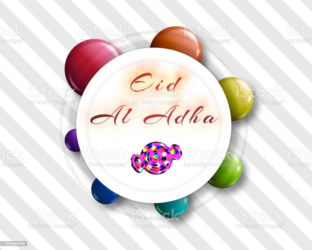 Eid al-Adha handwritten lettering with candy shape for eid Mubarak Celebration Background. Eid al adha means festival of sacrifices stock photo