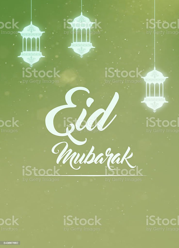 Eid mubarak greeting card stock photo