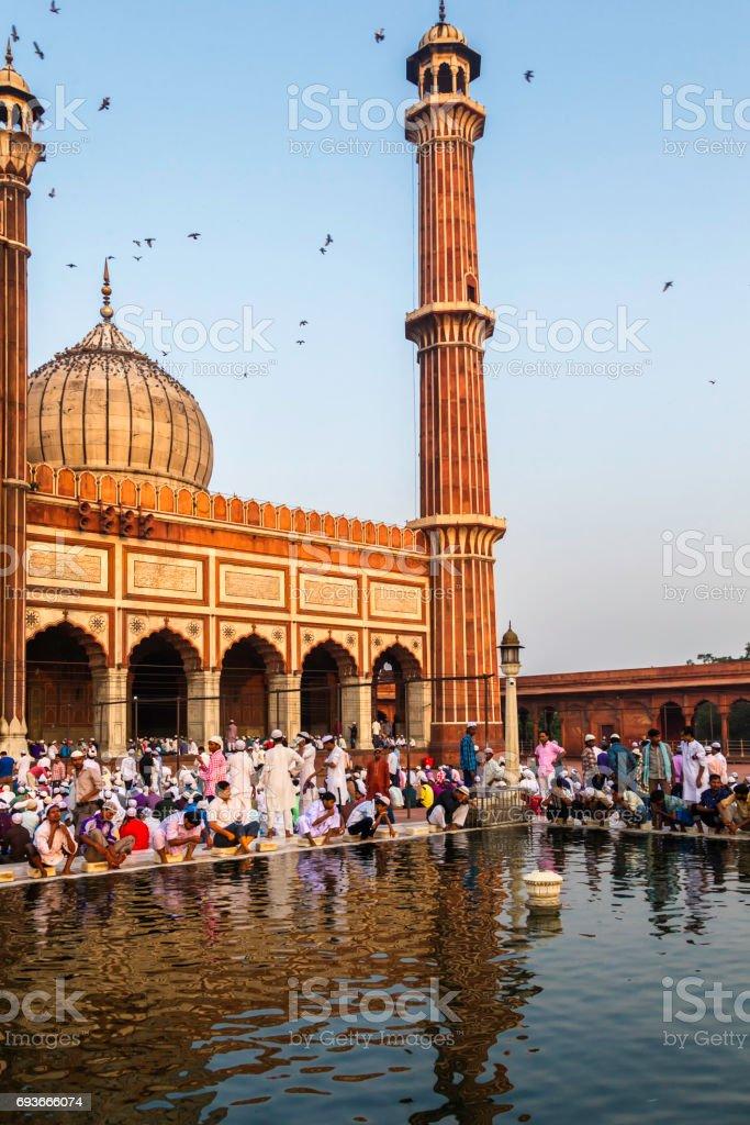 Prière à la Mosquée Jama Masjid, Vieux Delhi, Inde. - Photo