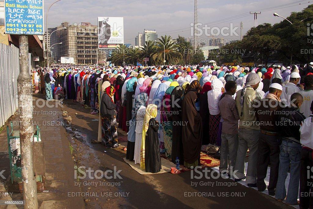 Eid Ul-Fitr ; Praying; Women-Men royalty-free stock photo
