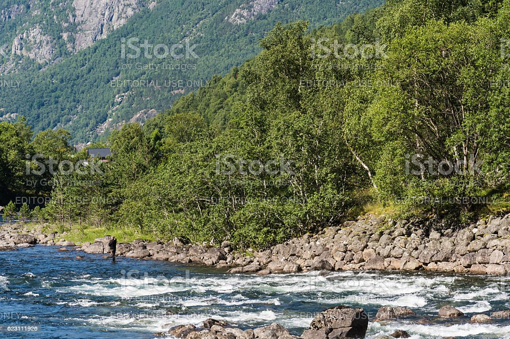 Eidfjord and rapid river in Norway stock photo