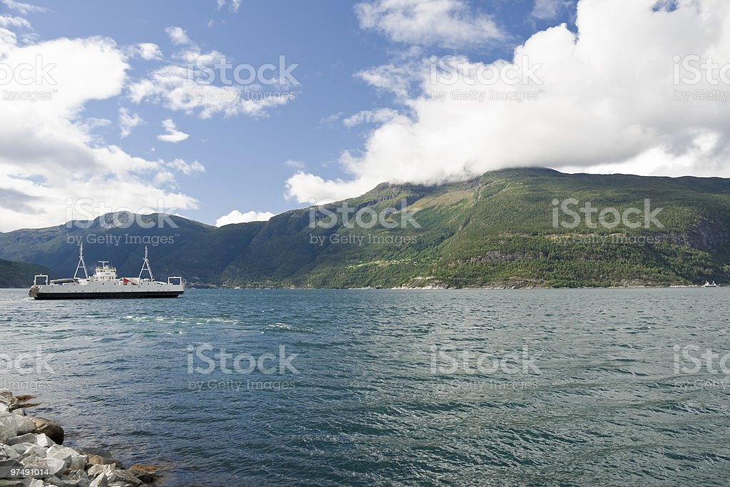 Eidfjorden ferry Bruravik-Brimnes royalty-free stock photo