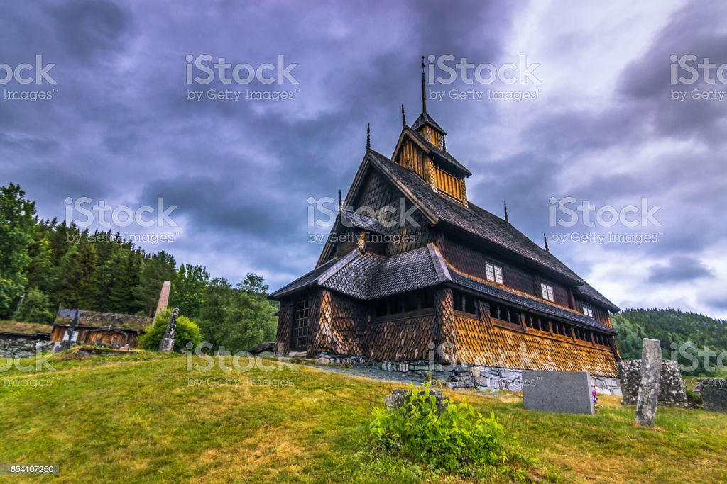 Eidsborg Stave Church, Norway stock photo
