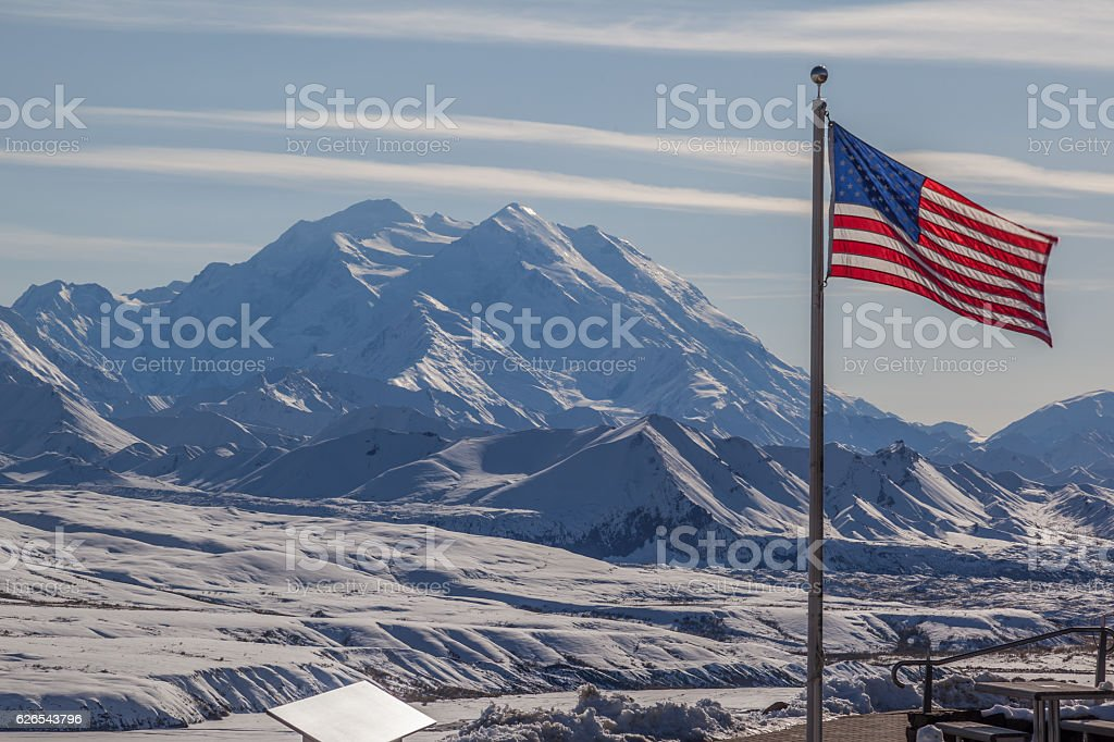 Eielson Visitor Center in Mount Denali ( McKinley) background,  Alaska. stock photo