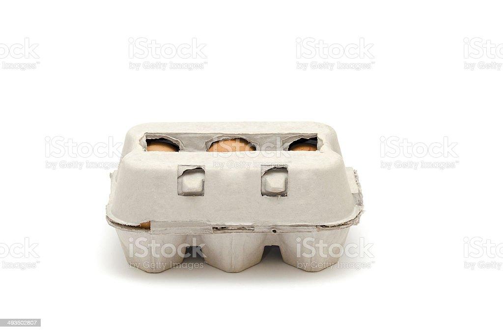 Eier in eierschachtel. 6 Eggs stock photo