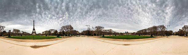 Eiffel 360 degree view Beautiful 360 panorama of the Eiffel tower on a cloudy winter day in Paris high dynamic range imaging stock pictures, royalty-free photos & images