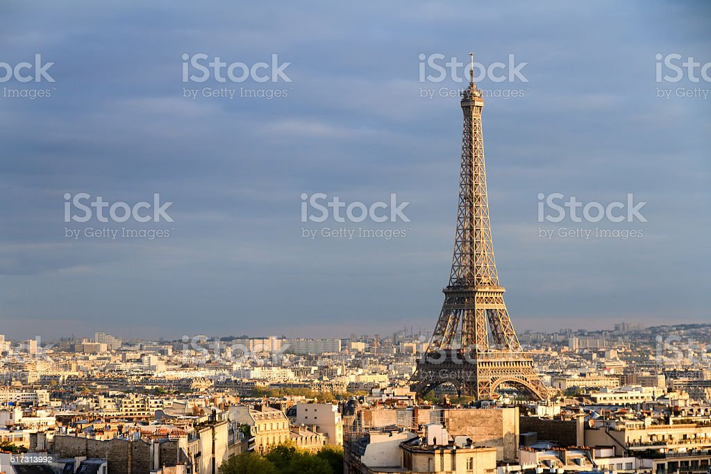 Eiffel cloudscape afternoon stock photo